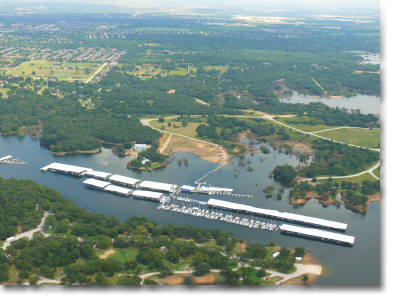 aerial photography of marina on Grapevine Lake in Flower Mound, TX