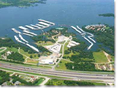 aerial photography of Eagle Point Marina on Lake Lewisville, TX