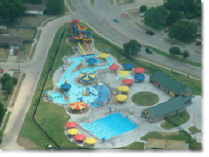 aerial photography or water park in Lewisville, TX