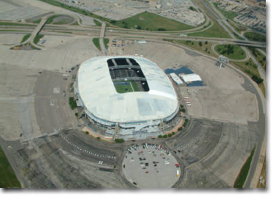 construction progress aerial photography of Texas Stadium