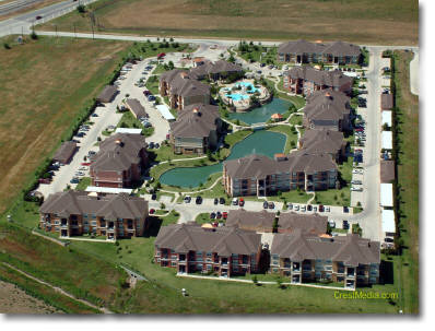 aerial photography of apartments in Roanoake, TX